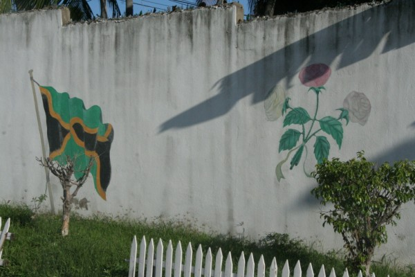 Jamaican flag mural, Kingston.