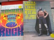 "Example of book covers on display. ""Sombra del rock"" and ""Lucha Libre Mexicana."" All photos: Author"