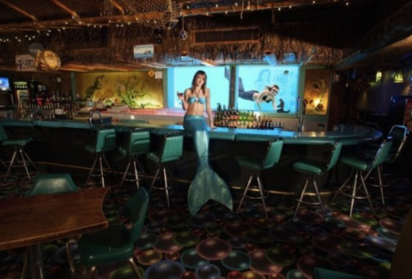 A person dressed as a mermaid, sitting on a bar