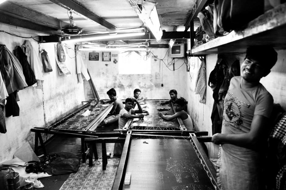Inside a small embroidery factory