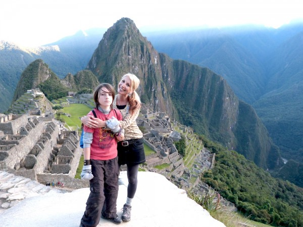 Mom and son at Machu Picchu