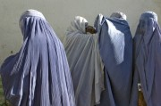 Afghan women in burqas