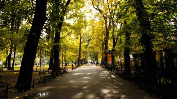 Planty city park cracow poland