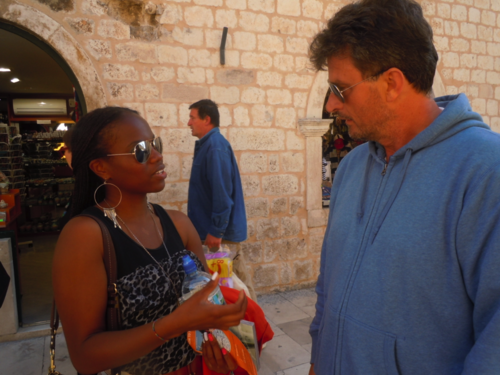 Jeta chatting with the locals in downtown Dubronvnik (Photo: Siury Mercedes)