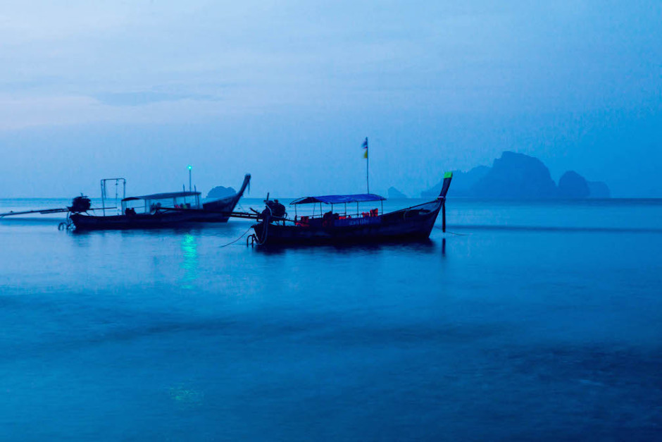 Photo: Longtail boats at sunrise in Krabi, Thailand