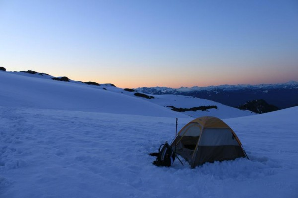 My camp, early dawn, my trusty little tent.