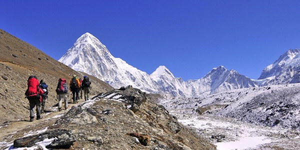 Trekking in Everest region.