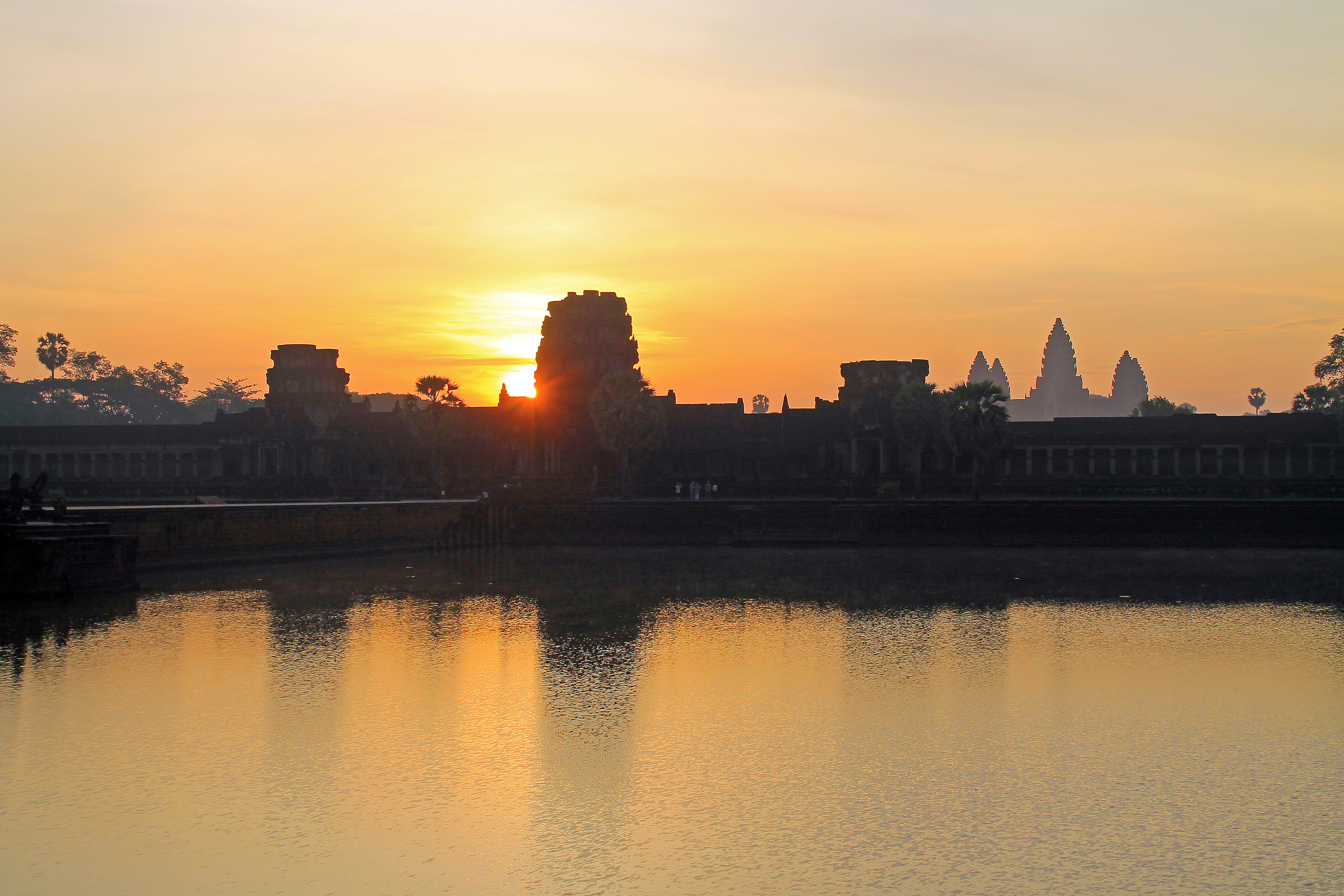 Sunrise over the Angkor Wat.