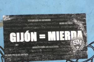 Gijón = Mierda (Shit). This sticker was found on a sign in a park, but are seen all over Oviedo. It shows the true rivalry between the two teams.