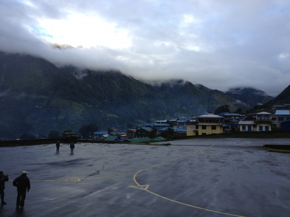 Lukla Airport with bad visibility