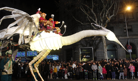 "Performers take part in the ""Three Wise Men"" traditional Epiphany parade in central Barcelona"