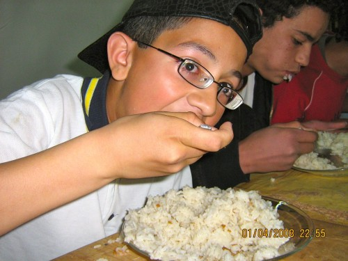 Hicham chowing down