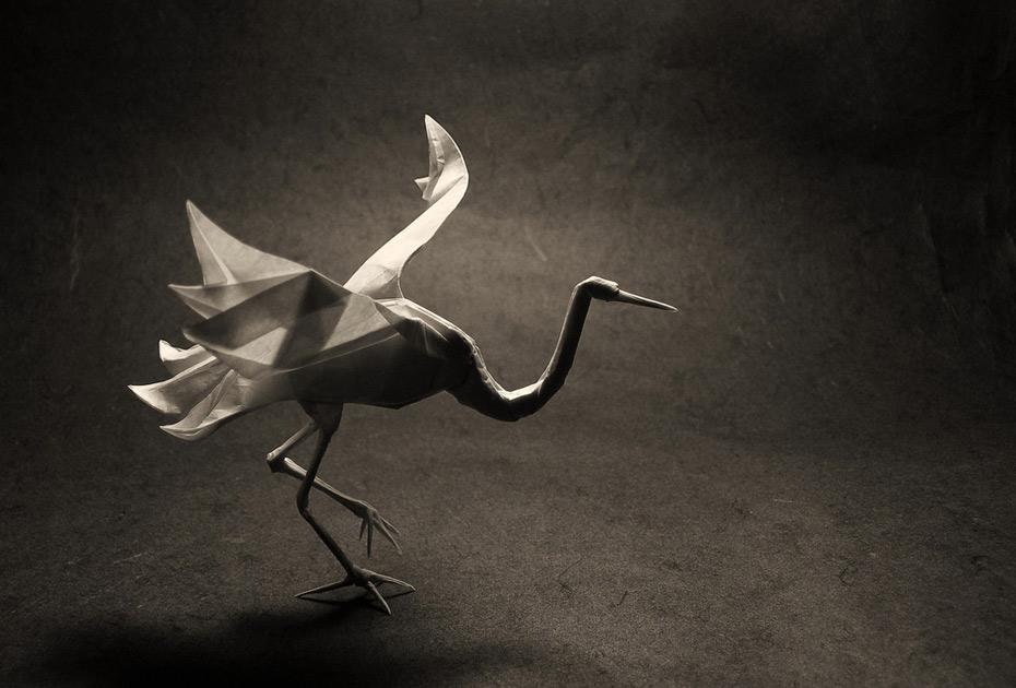 crane origami silhouette