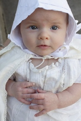 irish baby in christening gown