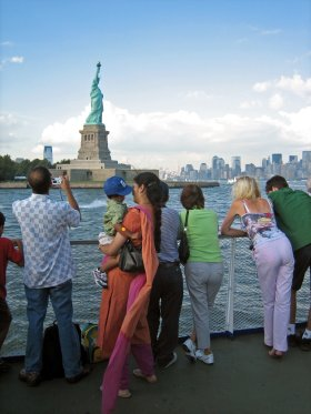 Statue of Liberty and tourists