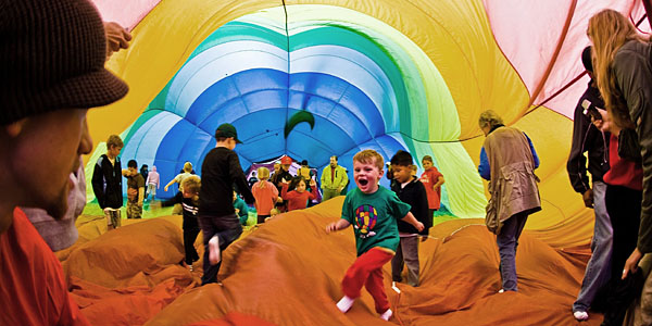 Children inside a hot air balloon
