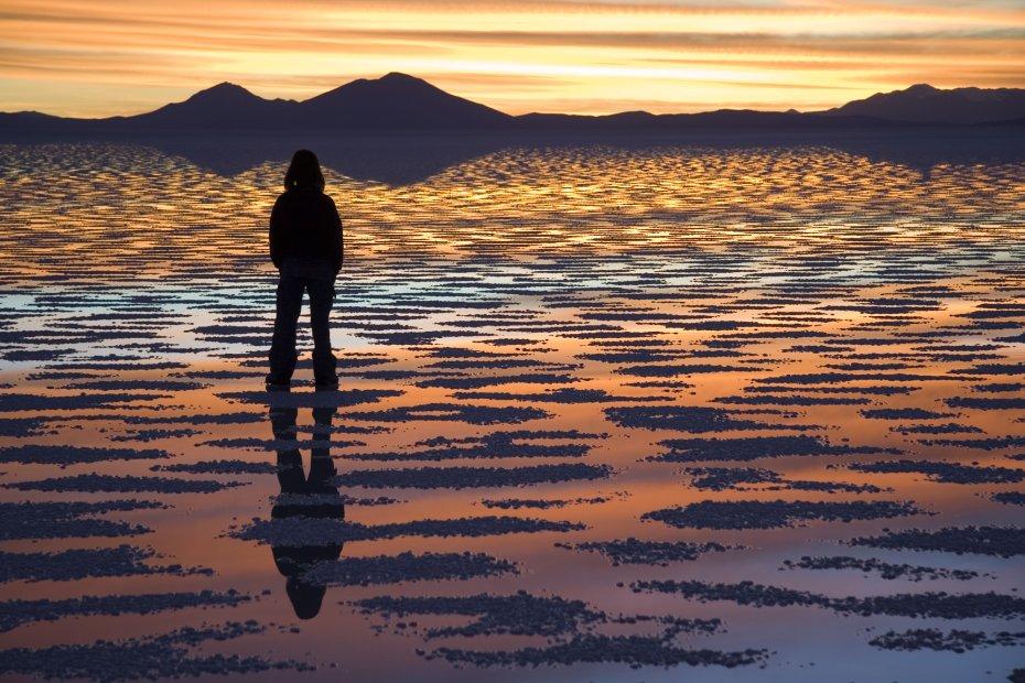 Sunset reflection on the Salar de Uyuni, Bolivia