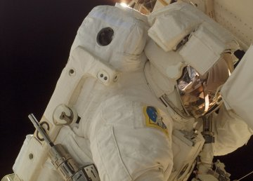 Closeup of astronaut during spacewalk