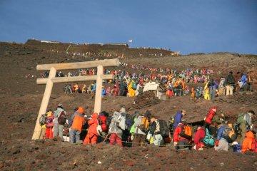 A crowded Mt. Fuji