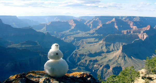 Snowman at the Grand Canyon
