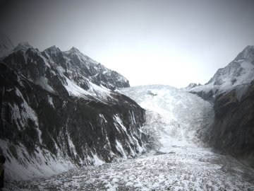 Glacier ice fall at Hailuogou