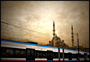 Railway in front of the mosque, Istanbul