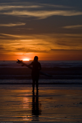 Surfer girl silhouette