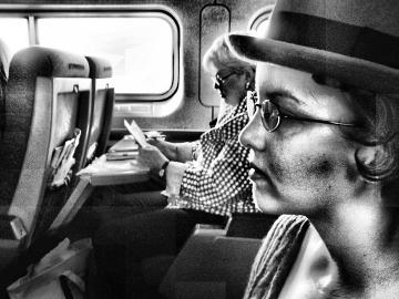 Train car black and white