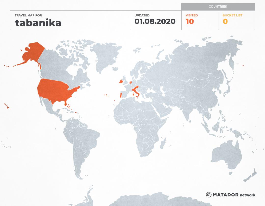 tabanika's Travel Map