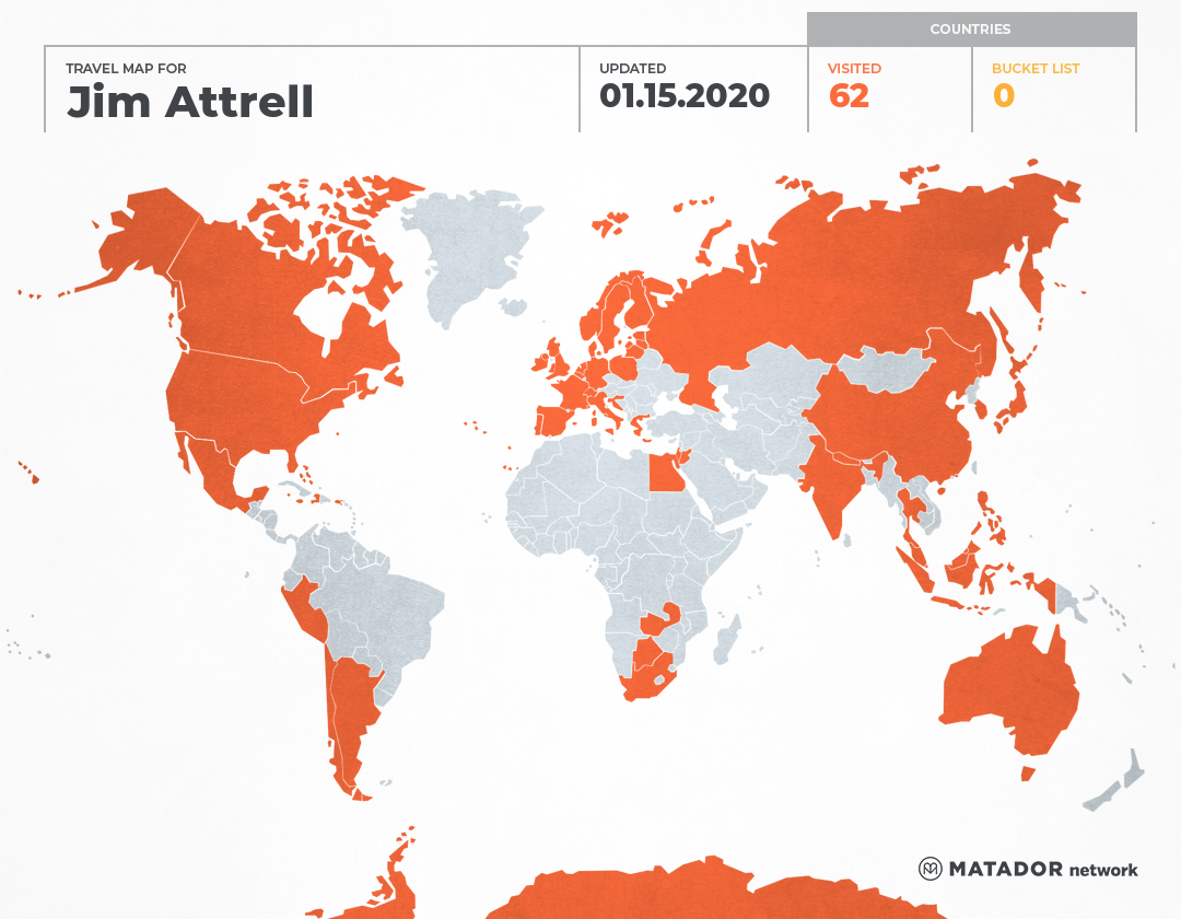 James Attrell's Travel Map
