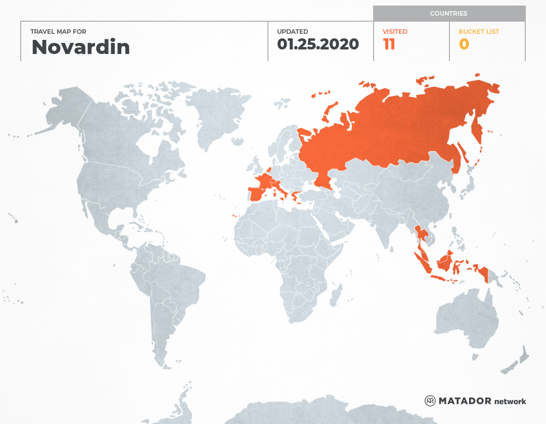 Novardin's Travel Map