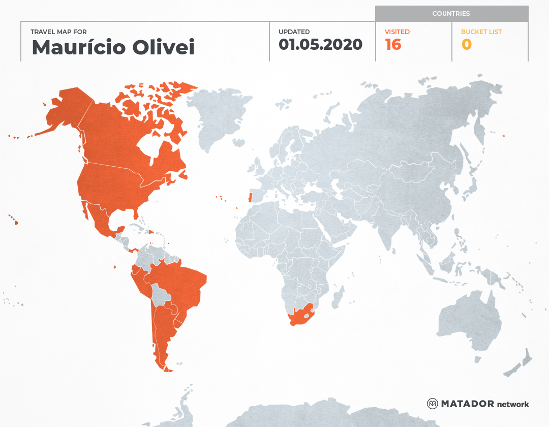 Mauricio Oliveira's Travel Map