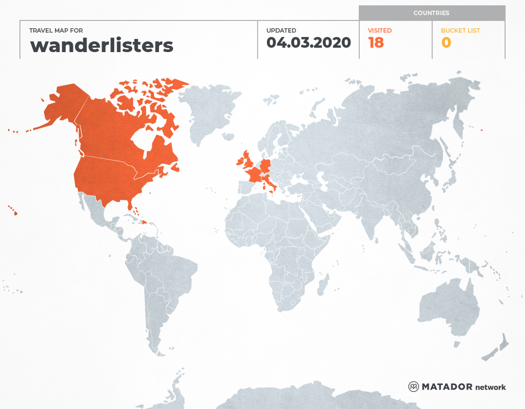 wanderlisters's Travel Map