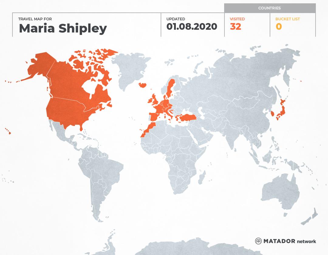 Maria Shipley's Travel Map