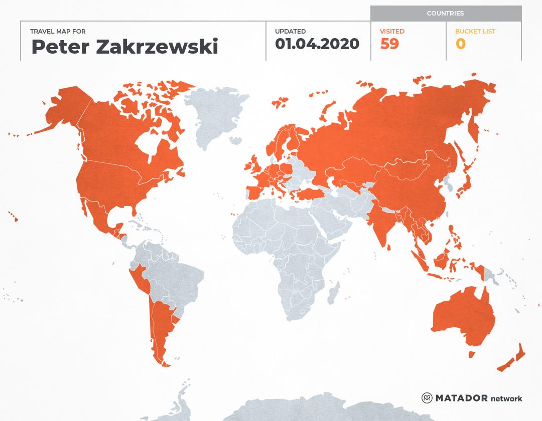 Peter  Zakrzewski's Travel Map
