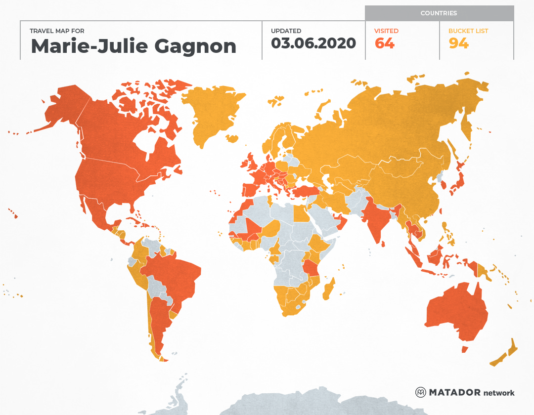 Marie-Julie Gagnon's Travel Map