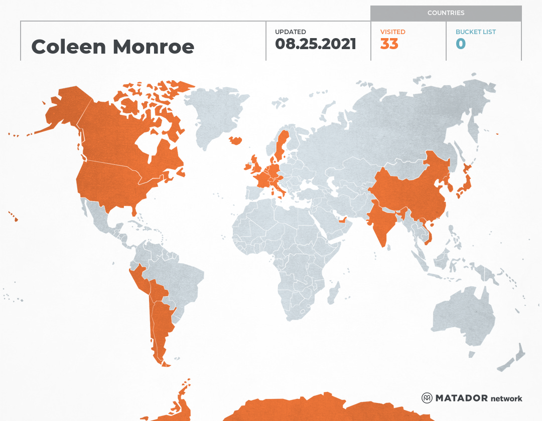 Coleen Monroe-Knight's Travel Map