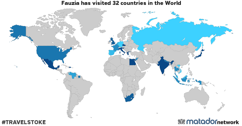 Fauzias travel map matador network fauzia has been to andorra belgium czech republic germany dominican republic egypt spain france united kingdom greece indonesia india italy gumiabroncs Choice Image