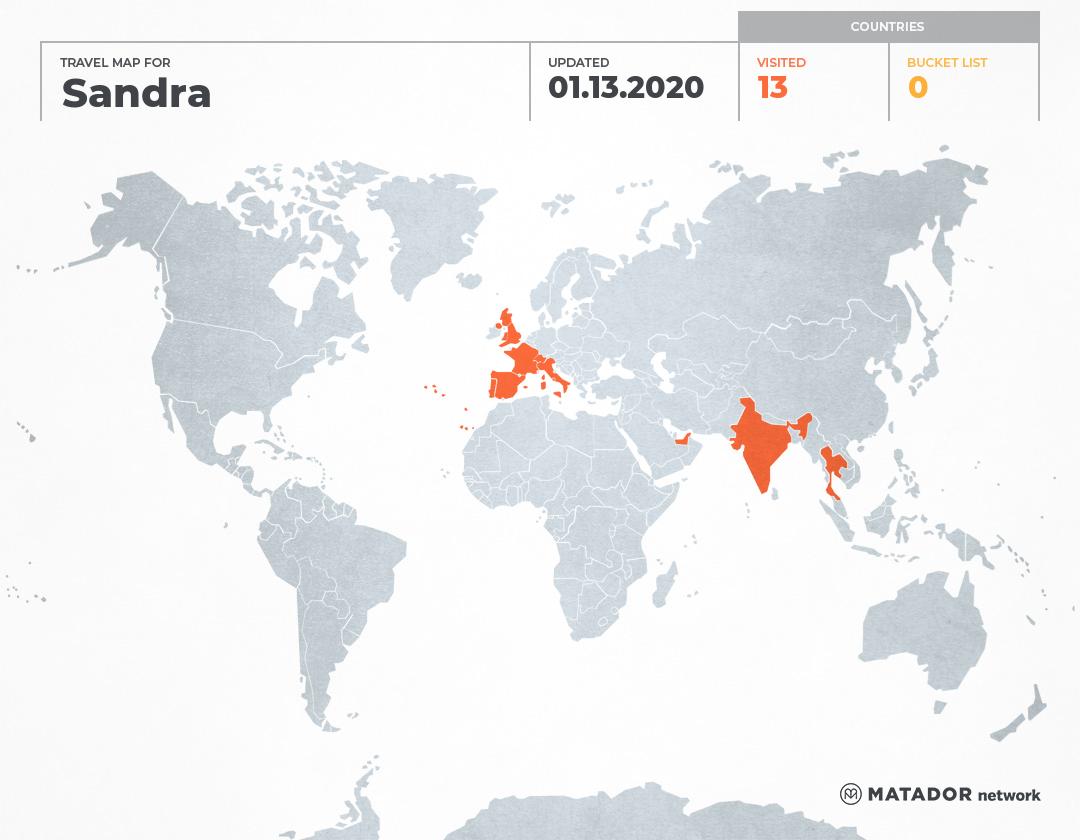 Sandra's Travel Map