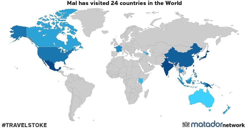 Mals travel map matador network mal has been to australia azerbaijan canada peoples republic of china fiji france georgia hong kong indonesia india japan kenya south korea gumiabroncs Image collections