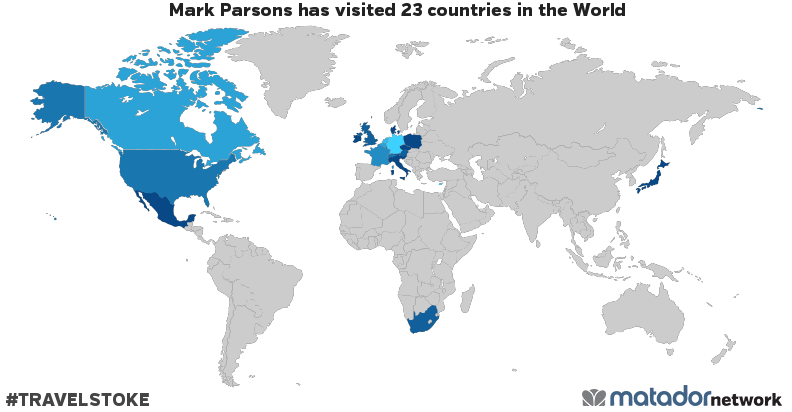 Mark parsonss travel map matador network mark parsons has been to austria belgium canada switzerland cyprus czech republic germany denmark france united kingdom hong kong ireland gumiabroncs Choice Image