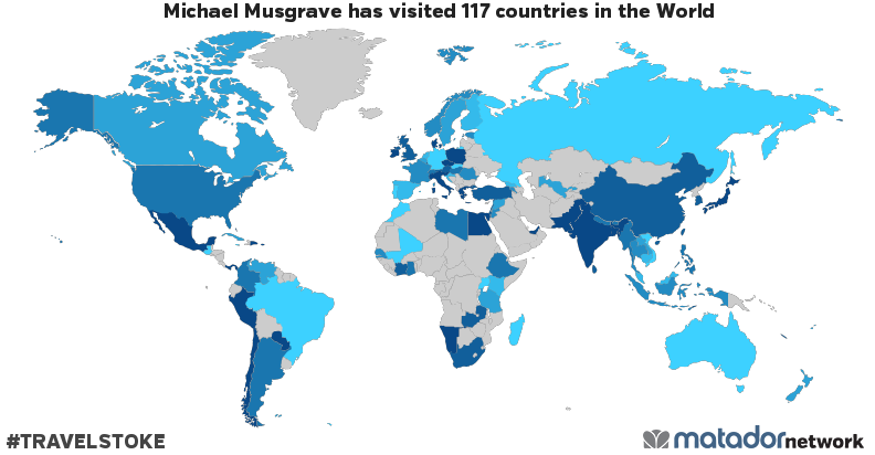 Michael Musgrave's Travel Map