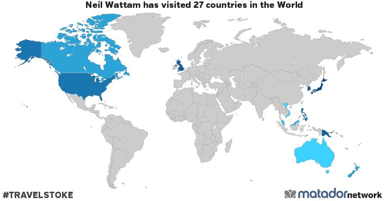 Neil wattams travel map matador network neil wattam has been to american samoa australia brunei canada cook islands christmas island fiji united kingdom hong kong japan kiribati gumiabroncs Choice Image