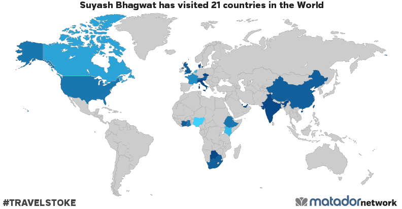 Suyash bhagwats travel map matador network suyash bhagwat has been to austria botswana canada peoples republic of china czech republic denmark ethiopia france ghana india italy gumiabroncs Choice Image