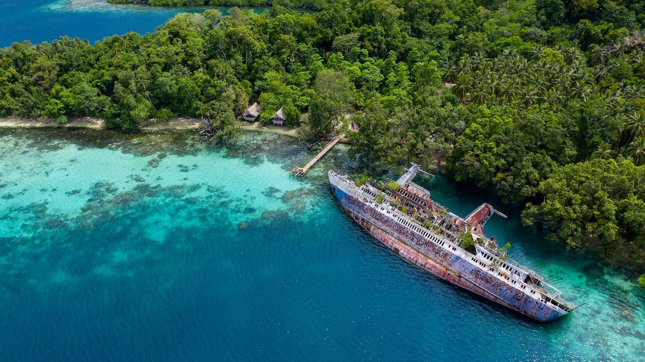 abandoned ship in Solomon Islands