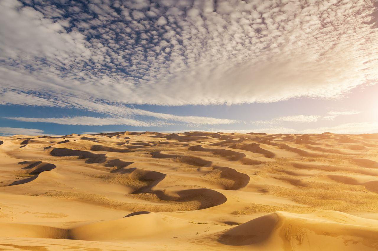 Beautiful sand dunes in the Sahara desert natural wonders