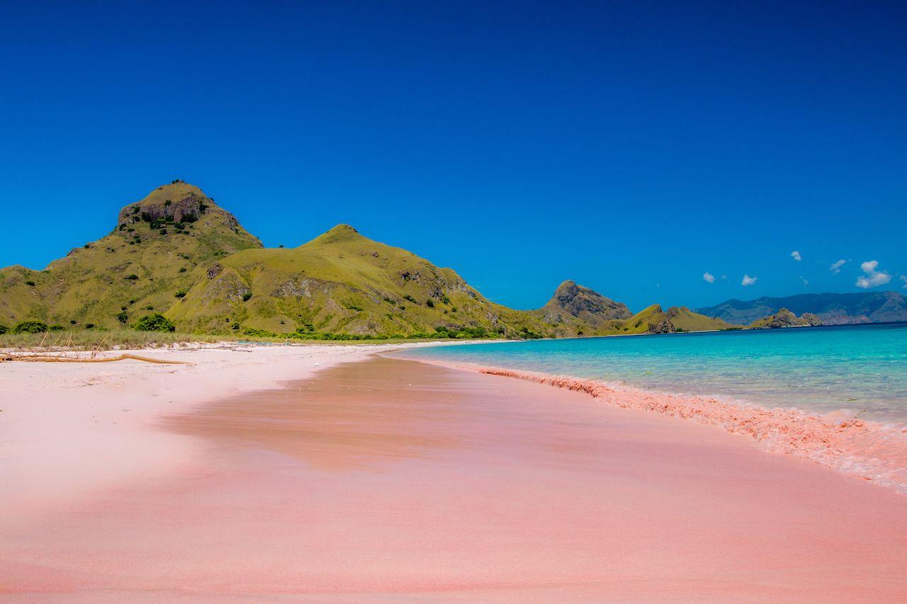 Pink Beach, Padar Island, Komodo Flores, Indonesia natural wonders