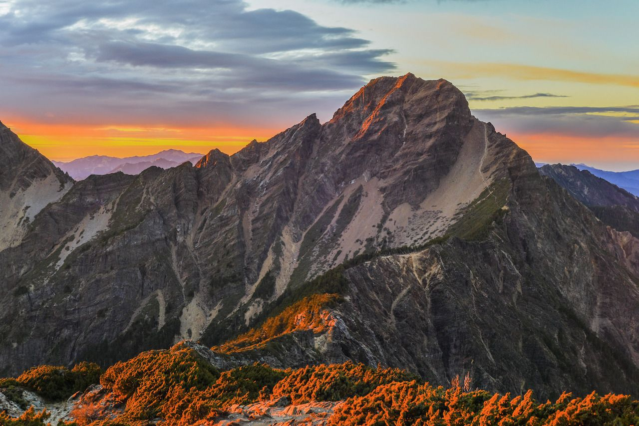 Sunrise at Yushan mountain, Taiwan natural wonders