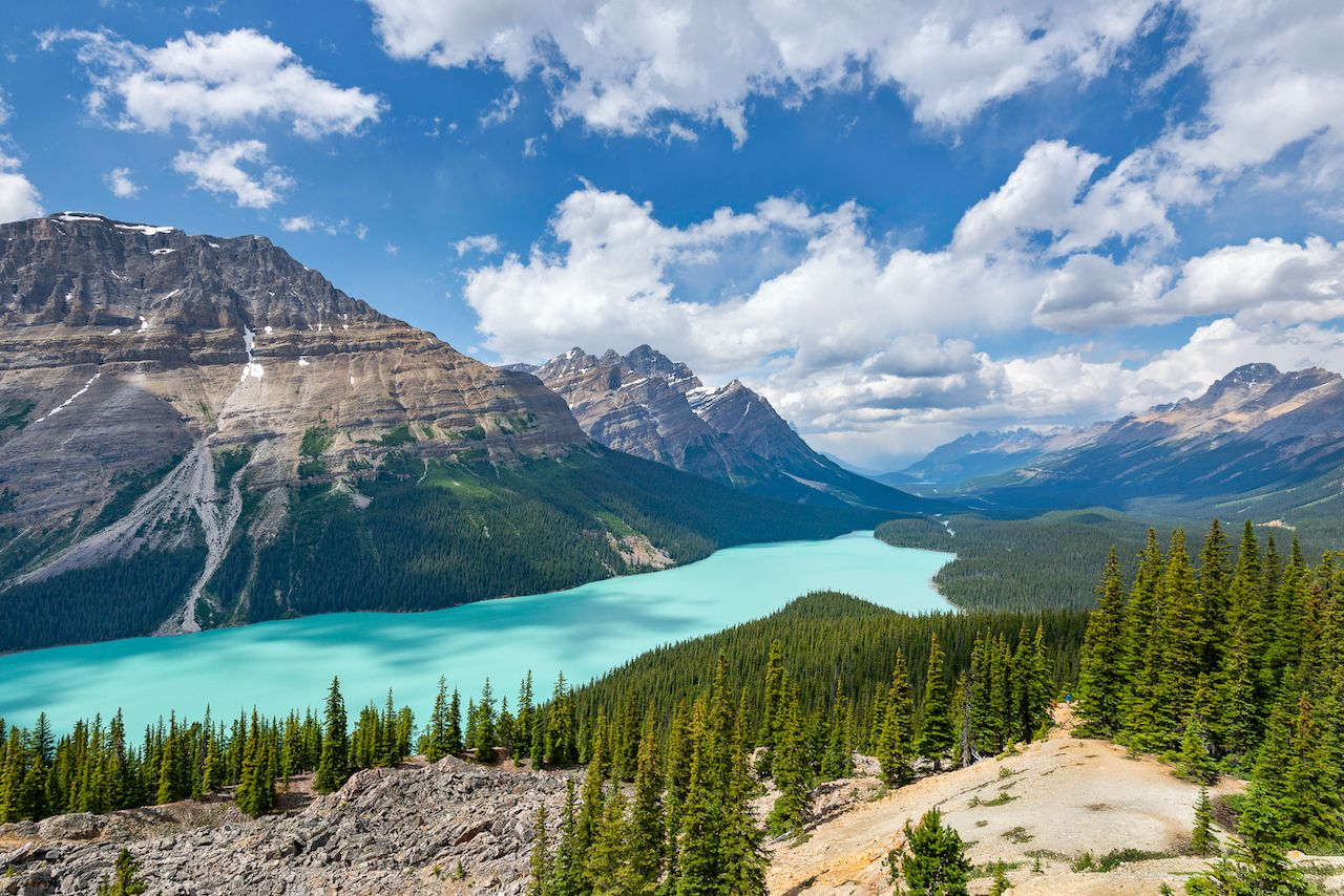 Clear waters of Peyto Lake in Alberta Canada