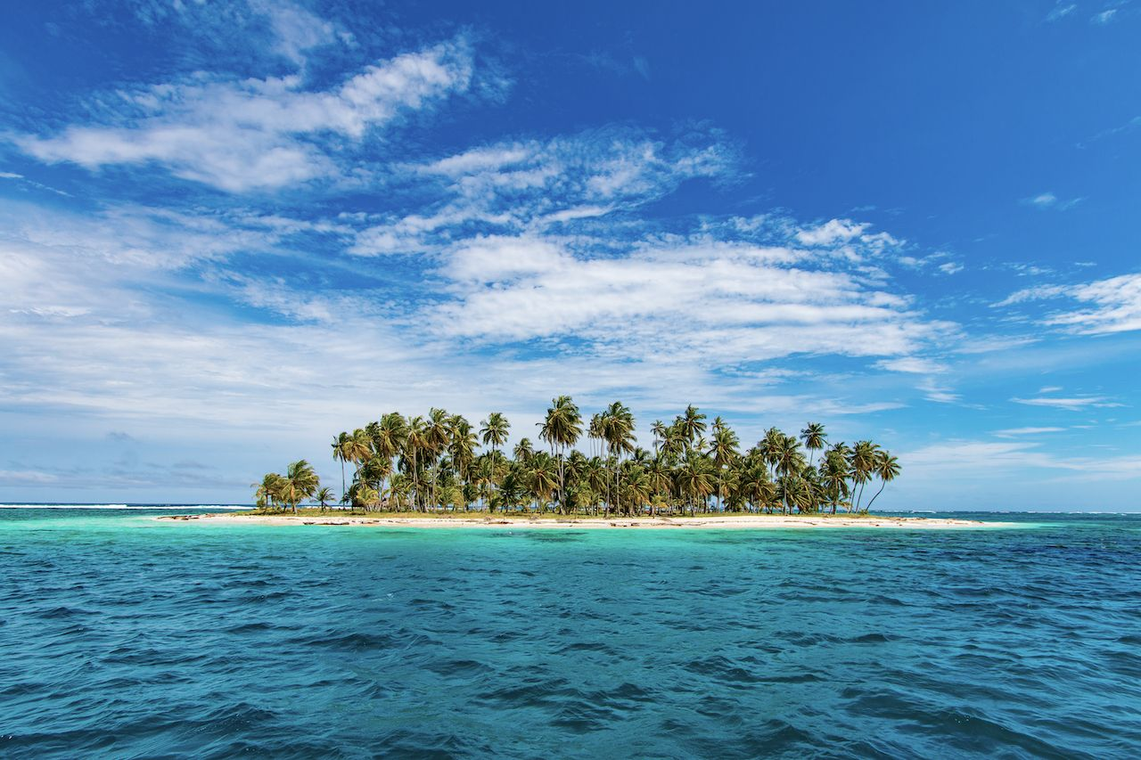 Dog Island is part of the San Blas Archipielago in Panama clear waters